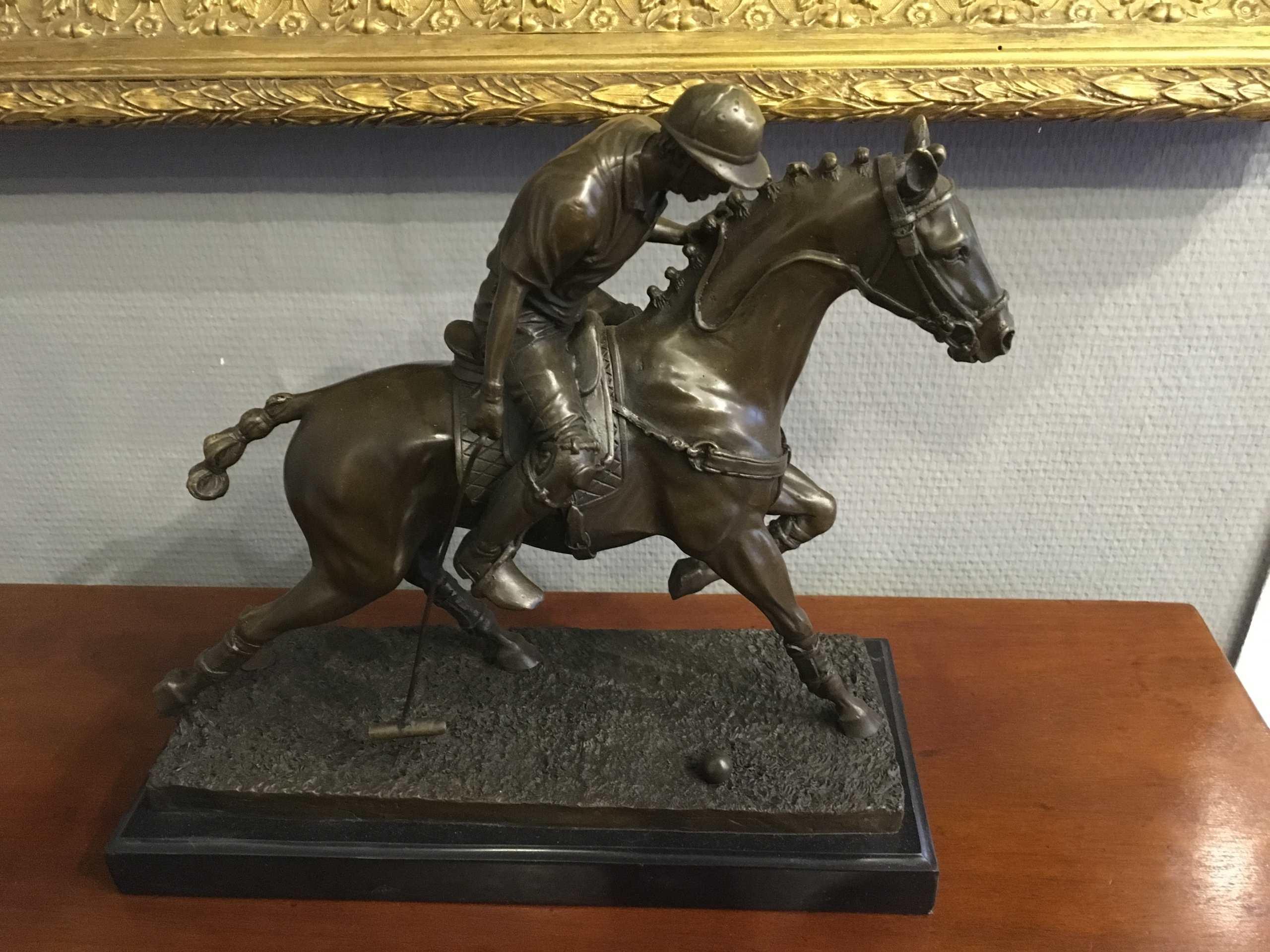 """Bronzeskulptur """"Polospieler Auf Pferd"""","""