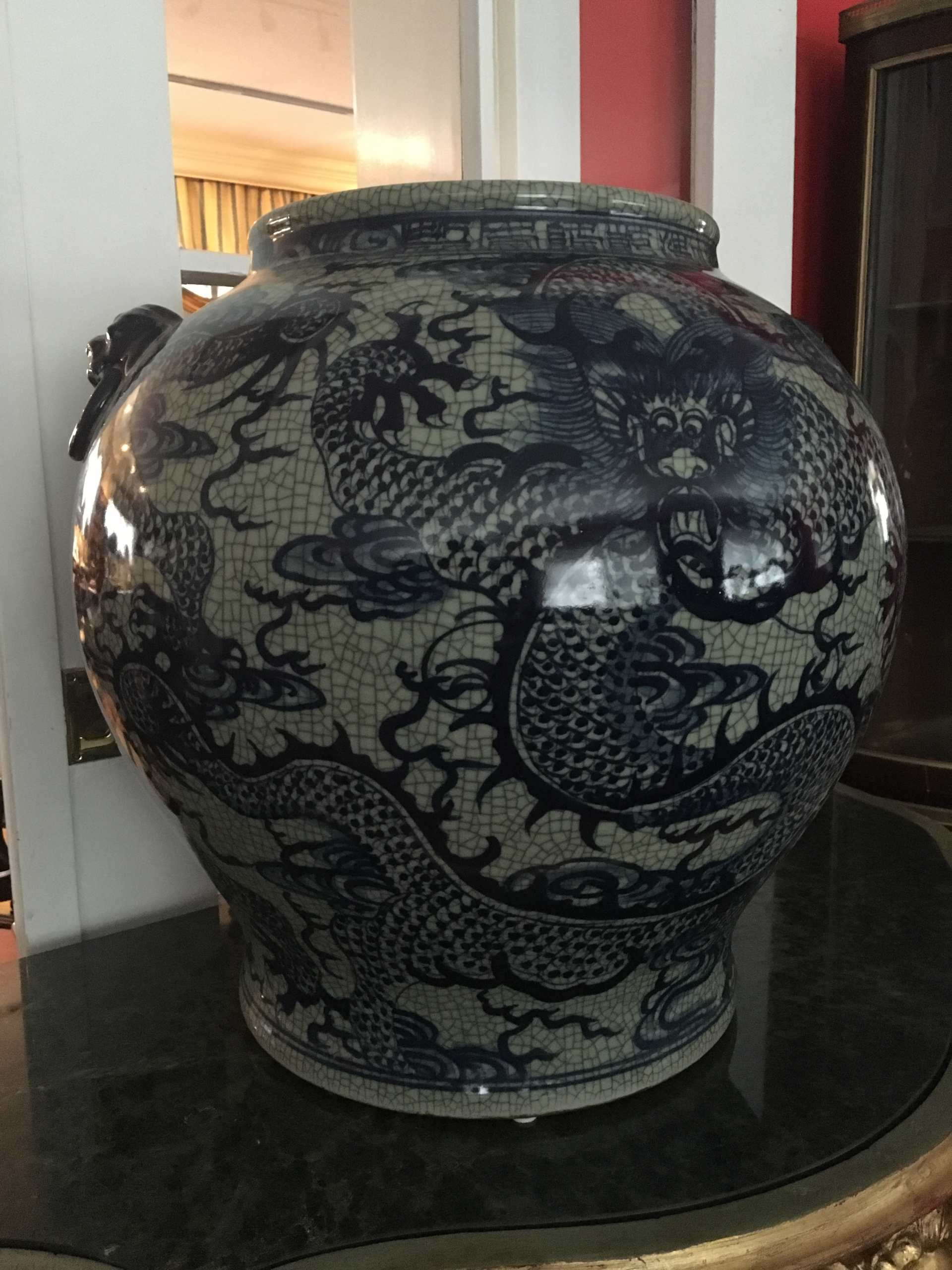 """Gebauchte Vase """"Cachepot"""", Qing Dynastie"""