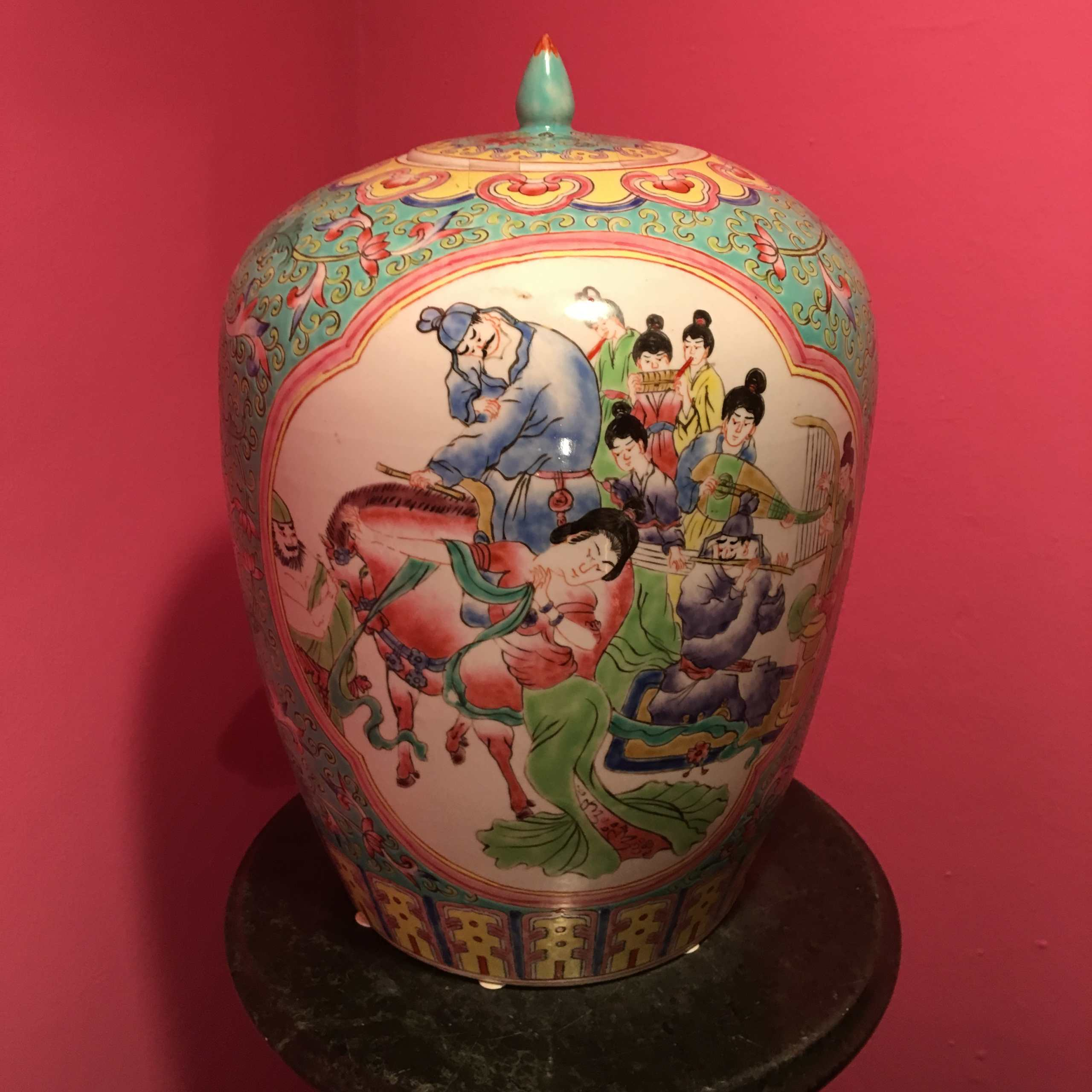 "Seltene Deckelvase, ""Familie Vert"", Qing Dynastie"