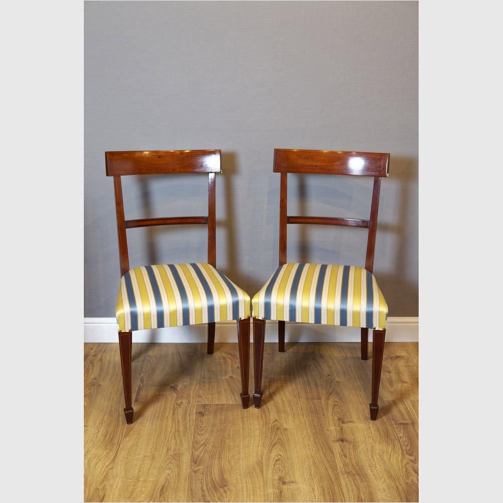 Satz Von 6 Intarsierten Stühlen, Mahagoni