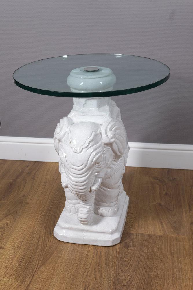 Runder Beistelltisch, Elefant In Keramik