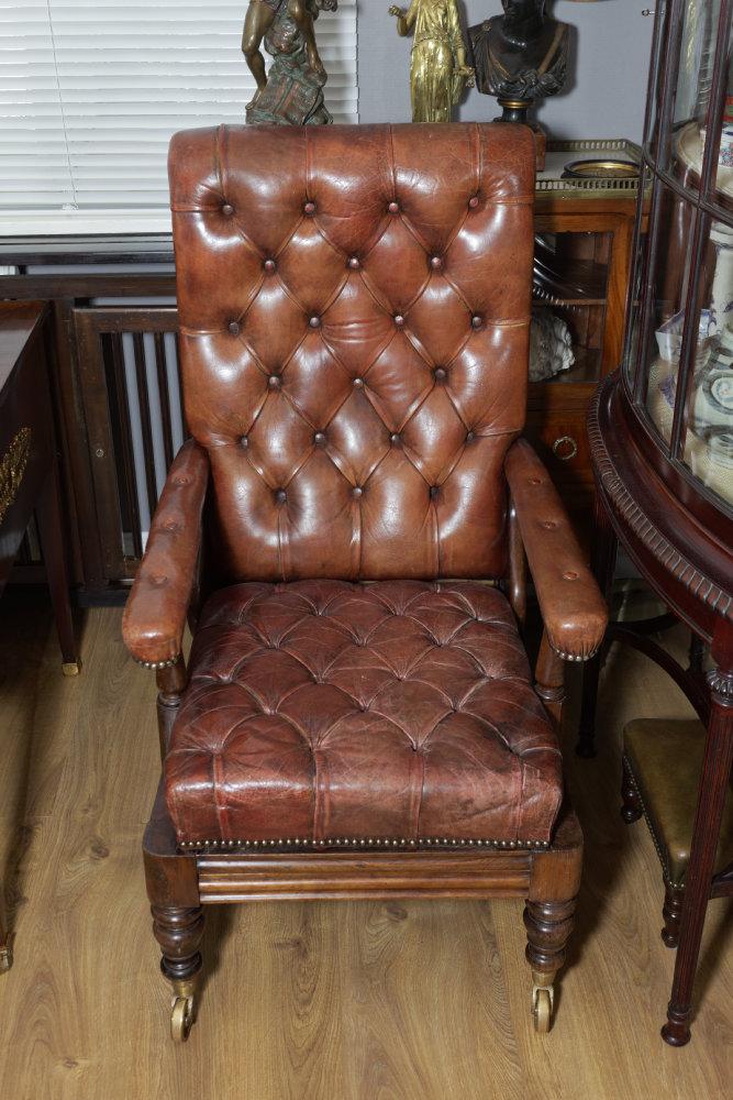 Seltener Library Chair, Palisander, Lederbezug